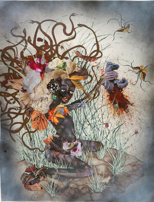 Mixed-media collage on Mylar, 42 x 30 inches (106.68 x 76.20 cm). Deutsche Bank Collection, Germany. Image courtesy of Susanne Vielmetter Los Angeles Projects. © Wangechi Mutu. Photo by Mathias Schormann.