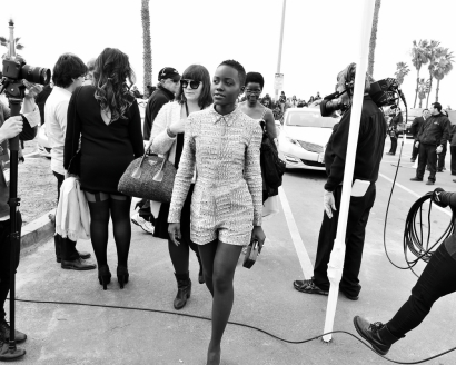 Lupita Nyong'o arriving for the 2014 Film Independent Spirit Awards.