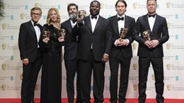 '12 Years A Slave' wins Best Film at the British Academy Film Awards. Producers Steve McQueen, Anthony Katagas, Brad Pitt, Dede Gardner and Jeremy Kleiner all receive statuettes.
