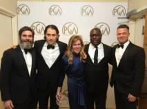 Winners of the Darryl F. Zanuck Award for Outstanding Producer of Theatrical Motion Pictures; producers Anthony Katagas, Jeremy Kleiner, Dede Gardner, McQueen and Brad Pitt pose with their award in the press room.