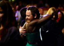 Lupita Nyong'o and 12 Years a Slave co-star Michael Fassbender greet each other on the red carpet at the BAFTAs.