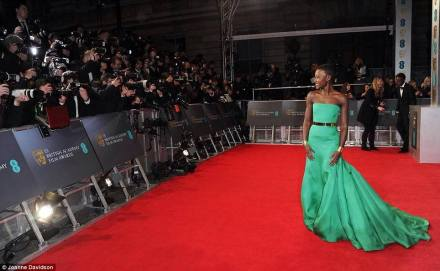 Lupita Nyong'o arriving for the EE British Academy Film Awards 2014.