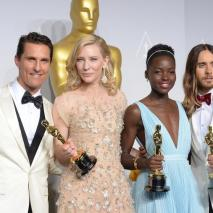 Lupita with actors Matthew McConaughey winner of Best Performance by an Actor in a Leading Role, Cate Blanchett winner of Best Performance by an Actress in a Leading Role and Jared Leto winner of Best Performance by an Actor in a Supporting Role pose in the press room during the Oscars.