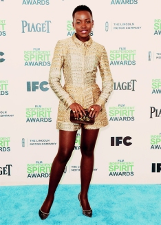 Lupita Nyong'o arrives for the 2014 Film Independent Spirit Awards where she won for Best Supporting Female award for her role in 12 Years a Slave.