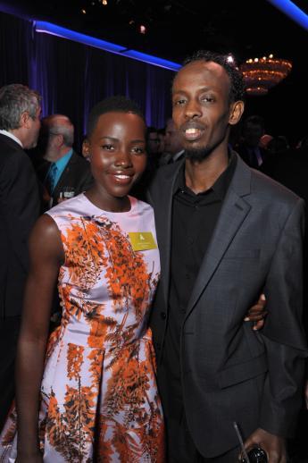 Lupita Nyong'o with fellow Oscar nominee Barkhad Abdi