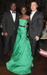 Lupita Nyong'o poses with Producer of 12 Years a Slave Brad Pitt, and director Steve McQueen at the BAFTA after party.