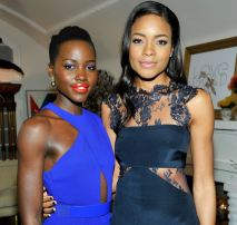 Lupita with actress Naomie Harris at the LoveGold cocktail party on Feb 26, 2014.