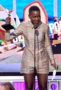 Lupita Nyong'o accepts the Best Supporting Female award for 12 Years a Slave onstage during the 2014 Film Independent Spirit Awards.