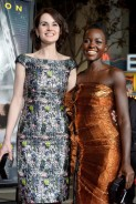 "Lupita Nyong'o and Michelle Dockery arriving for the premiere of their film ""Non-Stop""."