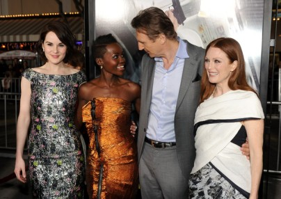 Lupita Nyong'o with the cast of Non-Stop, Michelle Dockery, Liam Neeson and Julianne Moore attend the premiere of the film in Califronia.