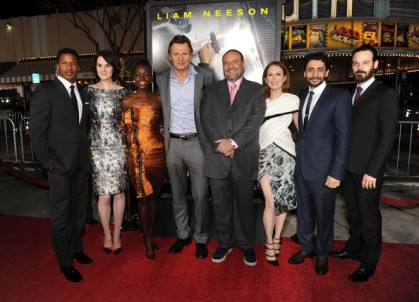 Lupita Nyong'o with the cast of Non-Stop, actors Nate Parker, Michelle Dockery and Liam Neeson, producer Joel Silver, actress Julianne Moore, director Jaume Collet-Serra and actor Scoot McNairy.