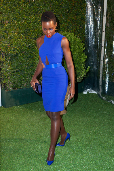 Lupita arriving for the LoveGold cocktail party where she was guest of honour on Feb 26, 2014.