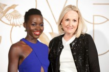 Lupita arriving for the LoveGold cocktail party held in her honour by Sally Morrison (managing director of the World Gold Council) on Feb 26, 2014.