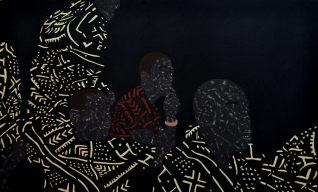 "Toyin Odutola, ""You were all brothers once, but have since forgotten"" (2013 - 2014) Charcoal, pastel and marker on paper. 69 x 41.5 inches."