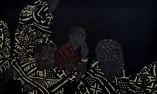 """Toyin Odutola, """"You were all brothers once, but have since forgotten"""" (2013 - 2014) Charcoal, pastel and marker on paper. 69 x 41.5 inches."""