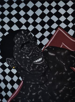 """Toyin Odutola, """"LTS V"""" (2014), Charcoal and pastel on paper. 30 x 40 inches."""