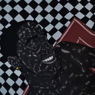 "Toyin Odutola, ""LTS V"" (2014), Charcoal and pastel on paper. 30 x 40 inches."